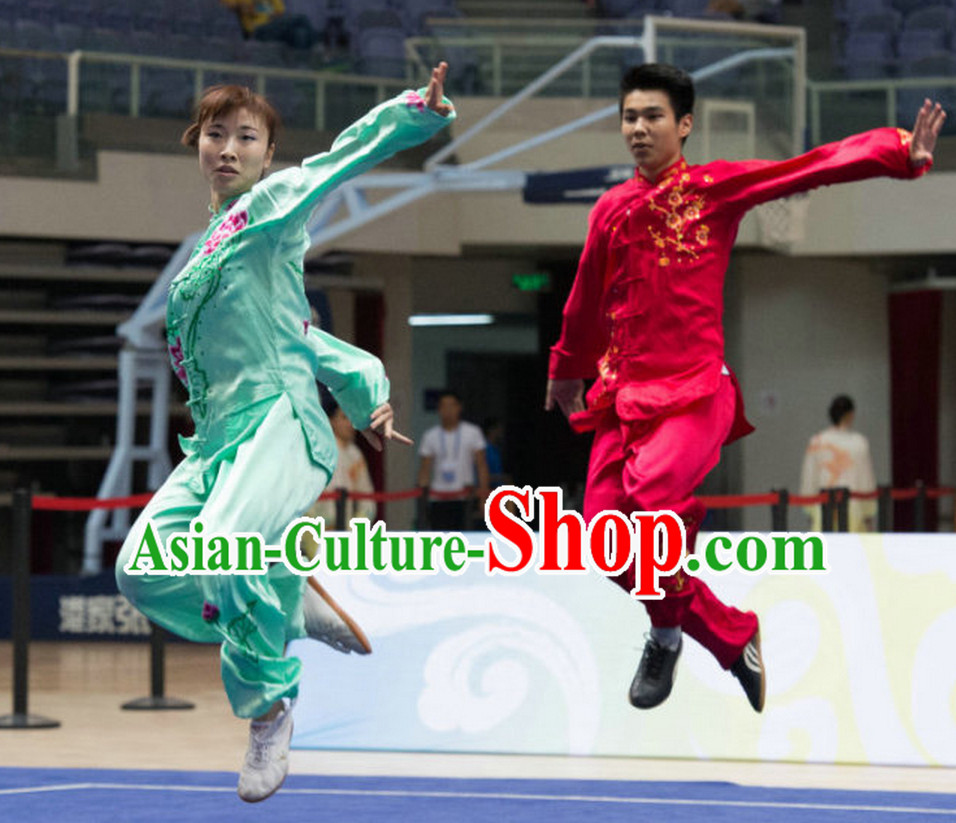 Top Red Tai Chi Qi Gong Yoga Clothing Yoga Wear Yang Tai Chi Quan Kung Fu Pants and Blouse Uniforms for Men