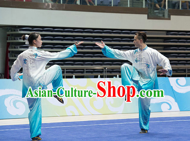 Top Embroidered Tai Chi Costumes Taijiquan Costume Aikido Chikung Tichi Uniforms Quigong Uniform Thaichi Martial Art Qi Gong Combat Clothing Competition Uniforms for Women or Men