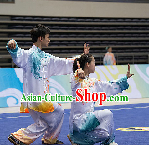 Top Championship Tai Chi Costumes Taijiquan Costume Aikido Chikung Tichi Uniforms Quigong Uniform Thaichi Martial Art Qi Gong Combat Clothing Competition Uniforms for Men or Women
