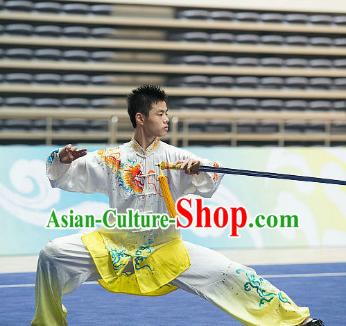 Top Embroidered Tai Chi Sword Championship Costumes Taijiquan Costume Aikido Chikung Tichi Swords Uniforms Quigong Uniform Thaichi Martial Arts Qi Gong Combat Clothing Competition Suits