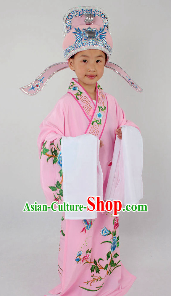 Chinese Beijing Opera Peking Opera Young Scholar Costumes Long Robe and Hat Complete Set for Kids