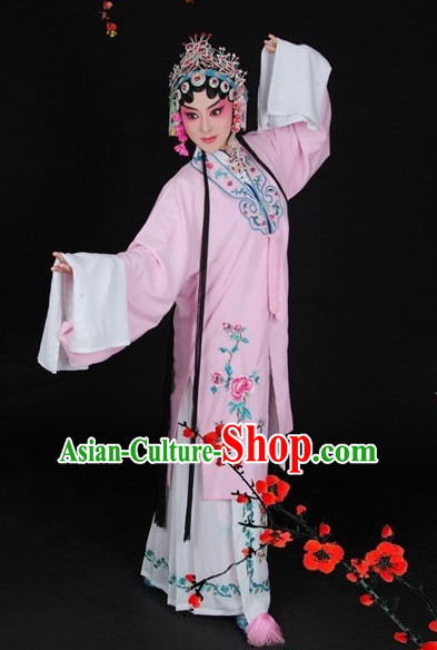 Chinese Beijing Opera Hua Tan Shaking Sleeves Long Robe and Hair Accessories Full Set for Women