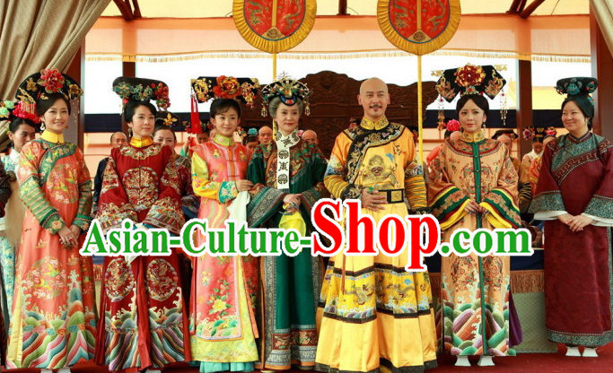Chinese Qing Dynasty Imperial Royal Clothing 7 Sets