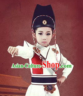 Chinese Ancient Emperor's Bodyguard Costumes and Hat Complete Set for Kids