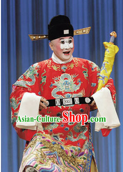 Chinese Traditional Beijing Opera Clown Costumes and Official Hat Complete Set for Men