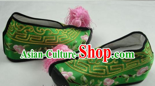Inside High Heel Chinese Beijing Opera Embroidered Shoes for Ladies