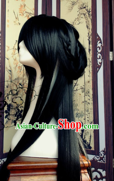 Chinese Traditional Handmade Long Black Male Wig