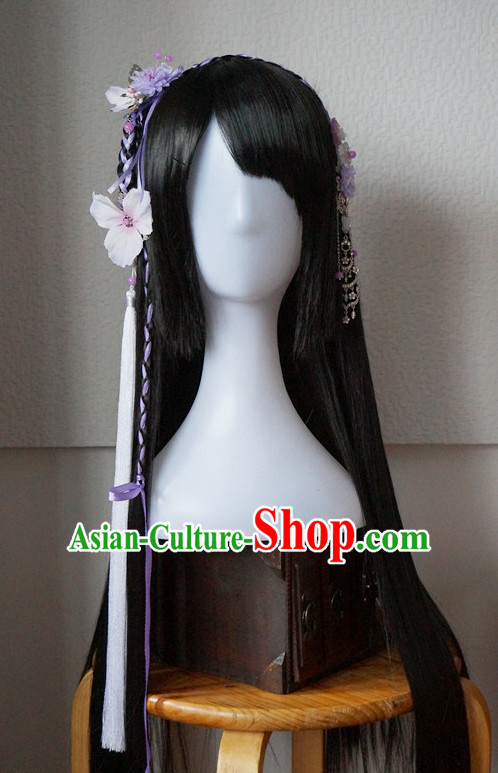 Traditional Chinese Costumes Black Wigs and Handmade Hair Accessories Hair Pins Hair Jewelry