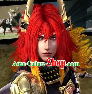 Chinese Ancient Style Kung Fu TV Drama Men's Long Black Wigs