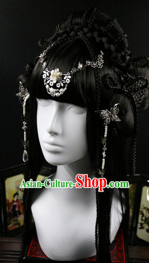 Chinese Traditional Handmade Princess Long Black WIgs and Hair Accessories Set