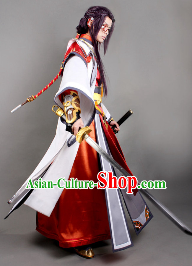 67fa89829 Asia Fashion Chinese Male Warrior Cosplay Costumes and Hair Accessies Complete  Set