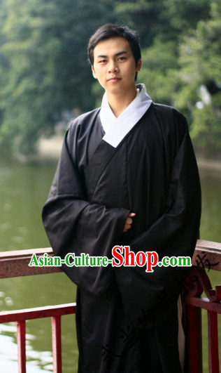 Black China Traditional Taoist Clothing Complete Set for Men