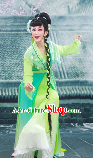 Asian Chinese Traditional Dress Theatrical Costumes Ancient Chinese Clothing Green Fairy Costumes and Hair Accessories