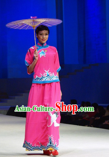Traditional Chinese Minguo Noblewoman Clothing and Umbrella Complete Set