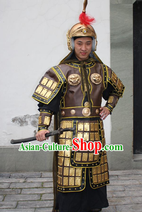 Ancient Chinese General Armor Costumes and Helmet Complete Set for Men