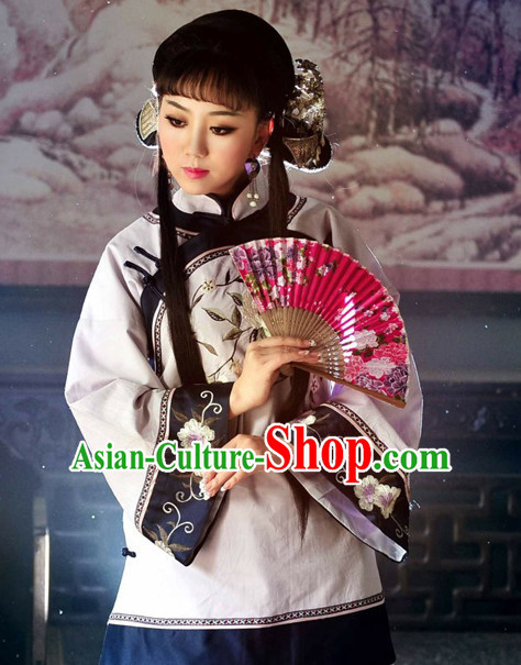 Traditional Chinese Minguo Time Mandarin Clothes and Hair Jewelry Complete Set