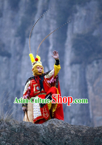 Chinese Traditonal Sun Wukong Monkey King Costumes and Hair Accessories Complete Set