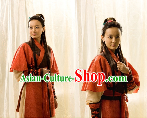 Ancient Korean Female Bodyguard Costume and Headband Complete Set