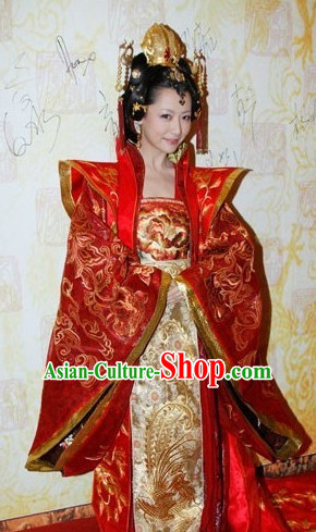 Chinese Ancient Empress Clothing and Hair Jewelry Comoplete Set