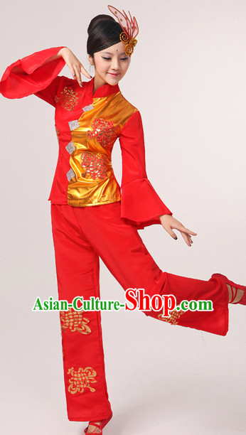 Chinese Lucky Red Fan Dancing Clothes and Headpieces Complete Set for Woen