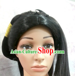 Chinese Ancient Swordswoman Black Long Lady Hair extensions Wigs Fascinators Toupee Long Wigs Hair Pieces and Accessories