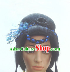 Chinese Ancient Swordswomen Black Long Lady Hair extensions Wigs Fascinators Toupee Long Wigs Hair Pieces and Accessories