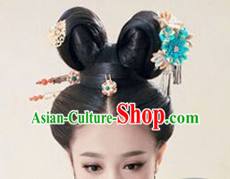 Chinese Ancient Maid Black Long Lady Hair extensions Wigs Fascinators Toupee Long Wigs Hair Pieces for Girls