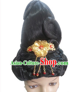Chinese Ancient Princess Queen Beauty Black Women Wigs