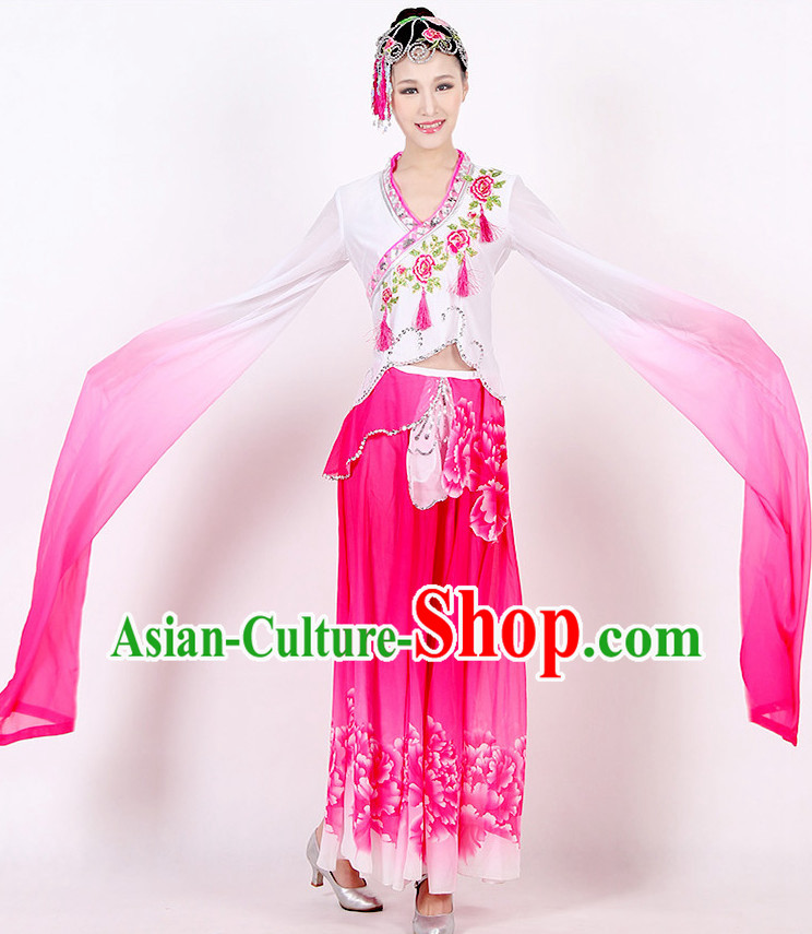Chinese Long Sleeves Color Transition Dance Costume Discount