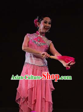 Chinese Traditionial Fan Dance Costume for Women