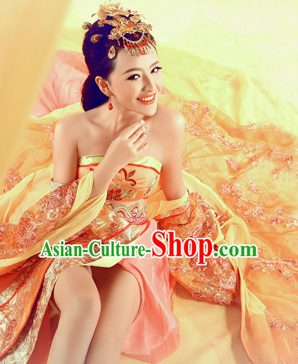 Ancient Chinese Classic  Sexy Empress Clothes Garment and Hair Jewelry Complete Set for Women