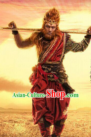 Ancient Monkey King Sun Wukong Costumes and Hair Accessories Complete Set