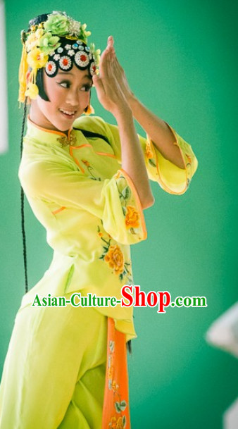 Chinese Classical Opera Dance Costume and Headdress Complete Set for Adults Kids Women Girls