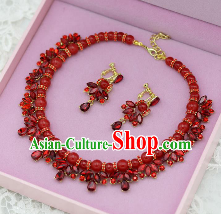 Traditional Wedding Jewelry Accessories, Palace Princess Bride Accessories, Engagement Necklaces, Wedding Earring, Baroco Style Red Crystal Necklace Set for Women