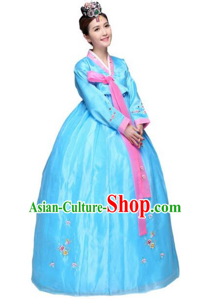 Korean Traditional Costumes Bride Dress Wedding Clothes Korean Full Dress Formal Attire Ceremonial Dress Court Stage Dancing