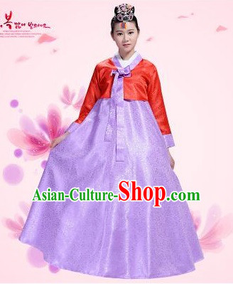 Korean Traditional Costumes Bride Dress Wedding Clothes Korean Full Dress Formal Attire Ceremonial Dress Court Stage Dancing Red Top Purple Skirt