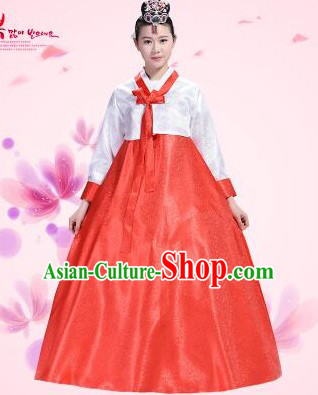 Korean Traditional Costumes Bride Dress Wedding Clothes Korean Full Dress Formal Attire Ceremonial Dress Court Stage Dancing White Top Red Skirt