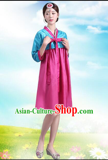 Korean Traditional Dress Women Costumes Bride Dress Clothes Korean Full Dress Formal Attire Ceremonial Dress Court Stage Dancing Blue Top Read Skirt