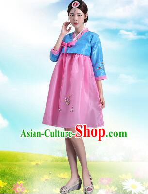Korean Traditional Dress Women Costumes Bride Dress Clothes Korean Full Dress Formal Attire Ceremonial Dress Court Stage Dancing Blue Top Pink Skirt