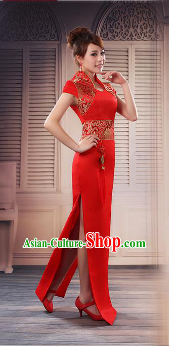Ancient Chinese Costumes, Manchu Clothing, Hotel Etiquette Improved Cheongsam, Traditional Red Cheongsam Wedding Dress for Bride