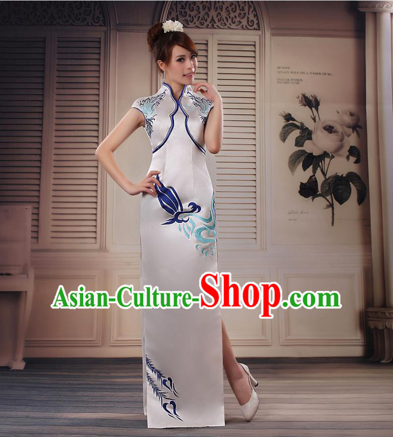 Ancient Chinese Costumes, Manchu Clothing Qipao, Improved Silk Mandarin Collar Cheongsam, Traditional Fish Tail Cheongsam Wedding Toast Dress for Bride
