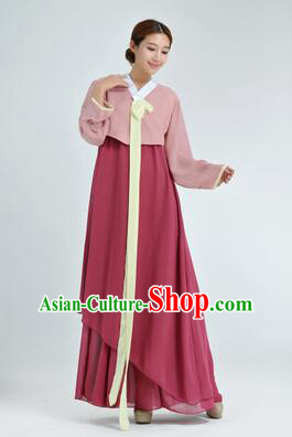 Korean Traditional Dress Women Clothes Show Costume Shirt Sleeves Korean Traditional Dress Dae Jang Geum Nude Pink Top Dark Red Skirt