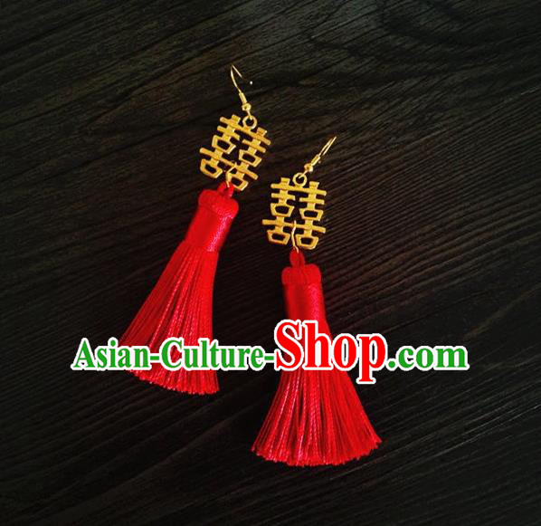 Chinese Wedding Jewelry Accessories, Traditional Xiuhe Suits Wedding Bride Earrings, Ancient Chinese Red Tassel Earrings