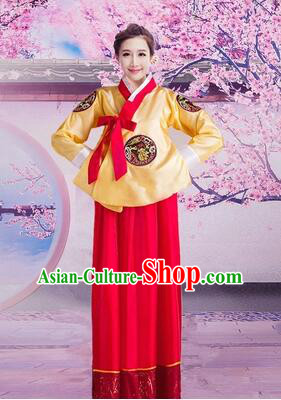 Korean Traditional Dress Women Girl Dancing Stage Ceremonial Dress Yellow Top Red Skirt