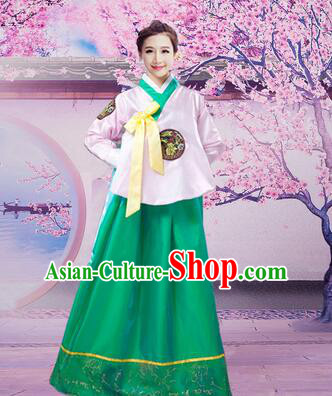 Korean Traditional Dress Women Girl Dancing Stage Ceremonial Dress White Top Green Skirt