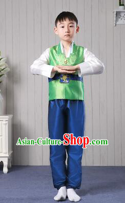 Korean Traditional Dress for Children Boy Clothes Kid Costumes Stage Show Dancing Green Top Blue Pants