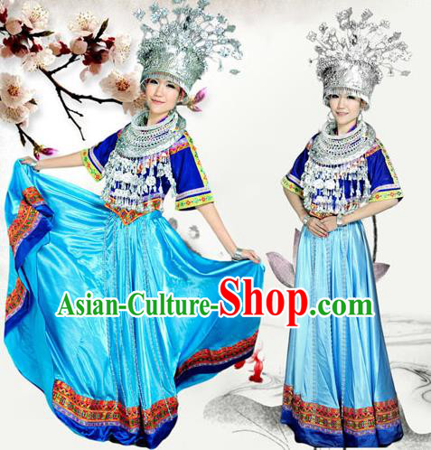 Traditional Chinese Miao Nationality Dancing Costume Accessories Necklace, Hmong Female Folk Dance Ethnic Pleated Skirt and Sliver Headwear, Chinese Minority Nationality Embroidery Costume and Hat for Women