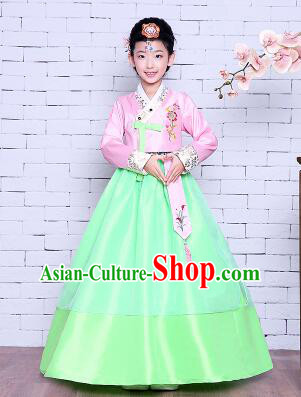 Korean Traditional Girl Dress Princess Clothes Children Dancing Costume Stage Show Halloween Pink Top Green Skirt