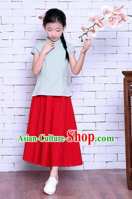 Girl Dress Min Guo Fan Fu Style Chinese Traditional Stage Costume Show Clothes Short Sleeves Green Top Red Skirt