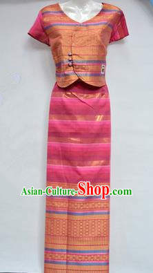 Traditional Asian Thai Dance Costume Complete Set, Chinese Dai Nationality Clothing for Women